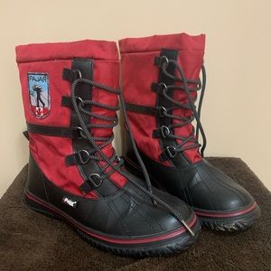 Pajar Grip Low Faux Fur Lined Waterproof Boots red